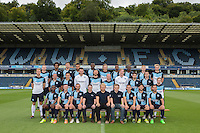 The Wycombe Wanderers 2015/16 Team Photo with representatives of Club sponsors Beechdean during Wycombe Wanderers Team Photoshoot 2015  at Adams Park, High Wycombe, England on 3 August 2015. Photo by PRiME Media Images.