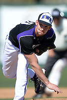 Kentucky Wesleyan Panthers pitcher Tyler Emberton (20) during a game against Slippery Rock University at Jack Russell Stadium on March 14, 2014 in Clearwater, Florida.  Slippery Rock defeated 18-13.  (Mike Janes/Four Seam Images)