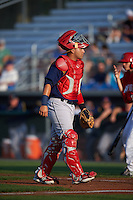 State College Spikes catcher Jose Godoy (35) during a game against the Auburn Doubledays on July 6, 2015 at Falcon Park in Auburn, New York.  State College defeated Auburn 9-7.  (Mike Janes/Four Seam Images)