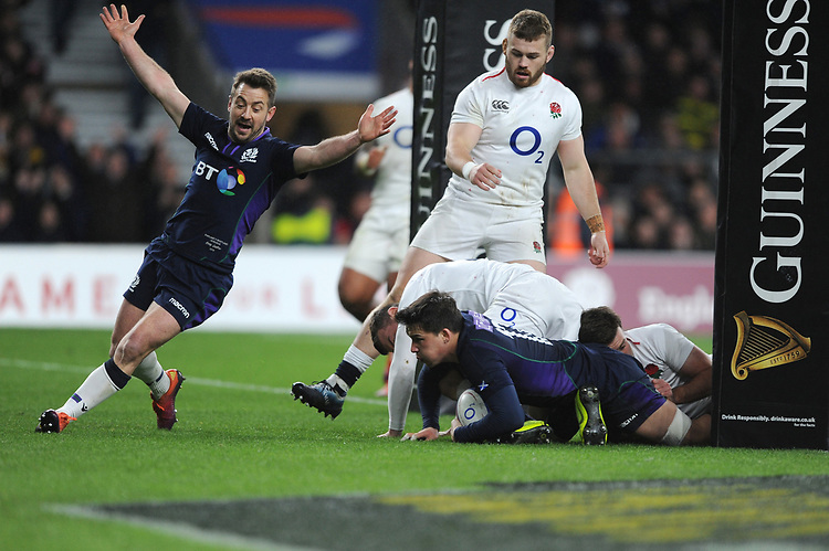 Greig Laidlaw of Scotland celebrates as Sam Johnson of Scotland scores a try during the Guinness Six Nations Calcutta Cup match between England and Scotland at Twickenham Stadium on Saturday 16th March 2019 (Photo by Rob Munro/Stewart Communications)