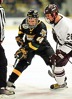 2 January 2009: University of Vermont Catamounts' forward Brian Roloff, a Junior from West Seneca, NY, in action against the Colgate Raiders during the second game of the 2009 Catamount Cup Ice Hockey Tournament hosted by the University of Vermont at Gutterson Fieldhouse in Burlington, Vermont. The Catamounts defeated the Raiders 6-4 to move onto the championship game against the St. Lawrence Saints...Mandatory Photo Credit: Ed Wolfstein Photo
