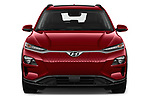 Car photography straight front view of a 2019 Hyundai Kona EV Sky 5 Door SUV