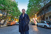 Stef Kamil Carlens, former member of Zita Swoon outside Cobra High cafe in Athens, Greece. Tuesday 07 May 2019