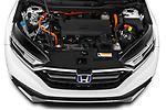 Car Stock 2021 Honda CR-V-Hybrid EX 5 Door SUV Engine  high angle detail view
