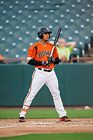 Bowie Baysox designated hitter Anthony Santander (45) at bat during the first game of a doubleheader against the Trenton Thunder on June 13, 2018 at Prince George's Stadium in Bowie, Maryland.  Trenton defeated Bowie 4-3.  (Mike Janes/Four Seam Images)