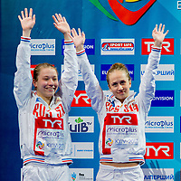 Belova, Timoshinina RUS Silver Medal<br /> 10 m. Women Synchro Platform Podium<br /> LEN European Diving Championships 2017<br /> Sport Center LIKO, Kiev UKR<br /> Jun 12 - 18, 2017<br /> Day03 14-06-2017<br /> Photo © Giorgio Scala/Deepbluemedia/Insidefoto