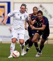 Shannon Boxx, Holmfridur Magnusdottir.  The USWNT defeated Iceland, 1-0, at Ferreiras, Portugal.
