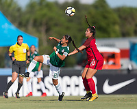 Bradenton, FL - Sunday, June 12, 2018: Nicole Perez, Sunshine Fontes during a U-17 Women's Championship Finals match between USA and Mexico at IMG Academy.  USA defeated Mexico 3-2 to win the championship.