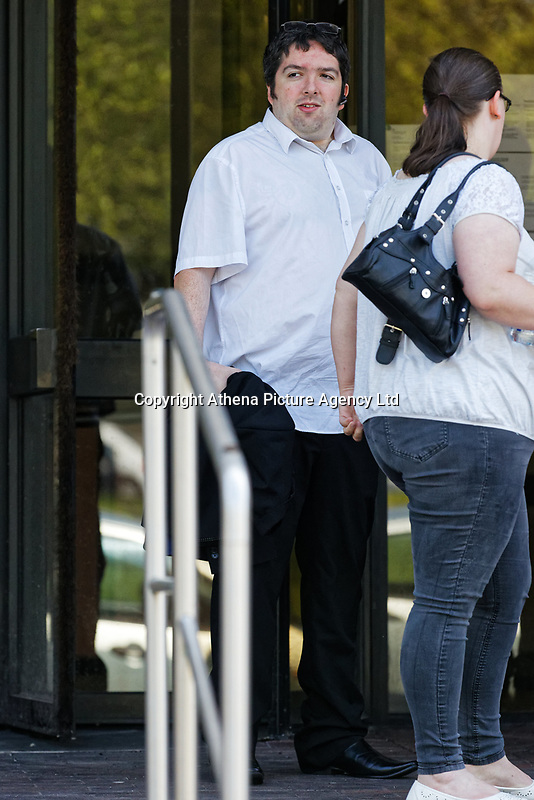 Pictured: Steven Grant (L) leaves Swansea Crown Court. Wednesday 23 May 2018<br /> Re: A martial arts instructor from Milford Haven has has been sentenced by at Swansea Crown Court for rendering two boys unconscious by performing choke holds on them.<br /> 29 year old Grant, had been due to stand trial earlier this year charged with three offences of assault causing actual bodily harm.<br /> But those two charges were amalgamated into one and Grant changed his pleas and admitted two offences of ABH.