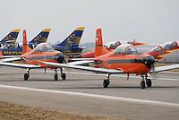 - Swiss Air Force acrobatic team with Pilatus PC-7 Turbo-Trainer aircrafts....- pattuglia acrobatica dell'aviazione svizzera con aerei Pilatus PC-7 Turbo-Trainer