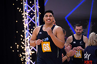 NZ Men's Junior Levi runs out for the Cadbury Netball Series final between NZ Silver Ferns and NZ Men at the Fly Palmy Arena in Palmerston North, New Zealand on Saturday, 24 October 2020. Photo: Dave Lintott / lintottphoto.co.nz