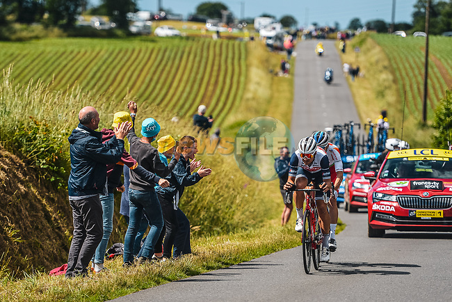 Jérémy Cabot (FRA) TotalEnergies and Edward Theuns (BEL) Trek-Segafredo from the breakaway out front during Stage 2 of the 2021 Tour de France, running 183.5km from Perros-Guirec to Mur-de-Bretagne Guerledan, France. 27th June 2021.  <br /> Picture: A.S.O./Charly Lopez | Cyclefile<br /> <br /> All photos usage must carry mandatory copyright credit (© Cyclefile | A.S.O./Charly Lopez)