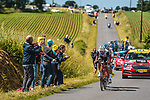 Jérémy Cabot (FRA) TotalEnergies and Edward Theuns (BEL) Trek-Segafredo from the breakaway out front during Stage 2 of the 2021 Tour de France, running 183.5km from Perros-Guirec to Mur-de-Bretagne Guerledan, France. 27th June 2021.  <br /> Picture: A.S.O./Charly Lopez   Cyclefile<br /> <br /> All photos usage must carry mandatory copyright credit (© Cyclefile   A.S.O./Charly Lopez)