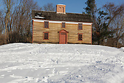 Captain William Smith House along the Battle Road Trail at Minute Man National Historical Park in Lincoln, Massachusetts during the winter months. Believed to have built been around 1692, the National Park Service restored it in the 1980s to its 1775 appearance. Captain William Smith was the commanding officer of the Lincoln Minute Men on April 19, 1775 (battles of Lexington and Concord, which marks the beginning of the American Revolutionary War).