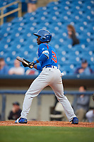 South Bend Cubs center fielder Chris Singleton (3) squares around to bunt during the first game of a doubleheader against the Lake County Captains on May 16, 2018 at Classic Park in Eastlake, Ohio.  South Bend defeated Lake County 6-4 in twelve innings.  (Mike Janes/Four Seam Images)