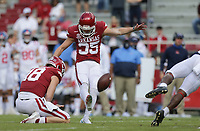 Arkansas kicker A.J. Reed (35) kicks a field goal, Saturday, October 17, 2020 during the second quarter of a football game at Donald W. Reynolds Razorback Stadium in Fayetteville. Check out nwaonline.com/201018Daily/ for today's photo gallery. <br /> (NWA Democrat-Gazette/Charlie Kaijo)