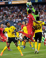 NASHVILLE, TN - JULY 3: Andre Blake #1 makes a save during a game between Jamaica and USMNT at Nissan Stadium on July 3, 2019 in Nashville, Tennessee.