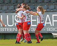 Amber De Priester (6) of Zulte Waregem pictured celebrating her goal with her teammates during a female soccer game between Eendracht Aalst and SV Zulte Waregem on the fourth matchday of play off 2 of the 2020 - 2021 season of Belgian Scooore Womens Super League , Saturday 1 st of May 2021  in Aalst , Belgium . PHOTO SPORTPIX.BE | SPP | DIRK VUYLSTEKE