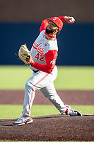 Ohio State Buckeyes pitcher Joe Gahm (42) delivers a pitch to the plate against the Michigan Wolverines on April 9, 2021 in NCAA baseball action at Ray Fisher Stadium in Ann Arbor, Michigan. Ohio State beat the Wolverines 7-4. (Andrew Woolley/Four Seam Images)