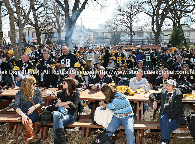 Pittsburg Steeler fans participate in pre-game activities and celebrations before Super Bowl XLV in Arlington,Texas.