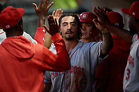 Chattanooga Lookouts Jonathan India (16) high fives teammates during a Southern League game against the Birmingham Barons on July 24, 2019 at Regions Field in Birmingham, Alabama.  Chattanooga defeated Birmingham 9-1.  (Mike Janes/Four Seam Images)