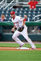 Harrisburg Senators first baseman Shawn Pleffner (17) waits for a throw during a game against the New Hampshire Fisher Cats on June 2, 2016 at FNB Field in Harrisburg, Pennsylvania.  New Hampshire defeated Harrisburg 2-1.  (Mike Janes/Four Seam Images)