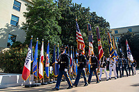 Honor guard members march through the pentagon courtyard during the Department of Defense's September 11th Pentagon Community Observance Ceremony in the courtyard of the Pentagon, Washington, D.C., September 10, 2021.<br /> CAP/MPI/RS<br /> ©RS/MPI/Capital Pictures