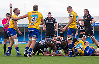 Exeter Chiefs' Jonny Hill scores his sides first try<br /> <br /> Photographer Bob Bradford/CameraSport<br /> <br /> Gallagher Premiership Semi-Final - Exeter Chiefs v Bath Rugby - Saturday 10th October 2020 - Sandy Park - Exeter<br /> <br /> World Copyright © 2020 CameraSport. All rights reserved. 43 Linden Ave. Countesthorpe. Leicester. England. LE8 5PG - Tel: +44 (0) 116 277 4147 - admin@camerasport.com - www.camerasport.com