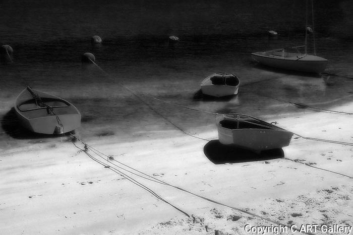 Beached Rowboats (B&W), Balboa Island, CA.