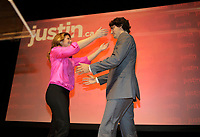 October 2nd 2012 - Montreal , quebec,  CANADA -<br /> Papineau Federal MP Justin Trudeau officially annnonce he is running for leadership of the Liberal Party of Canada, following his father Pierre Eliott Trudeau footsteps. His wife Sophie Gregoire and their 2 kids accompany him onstage.