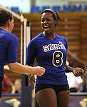 Morgan McAlpin celebrates with the Marymount University Saints during first round action at the 6th annual Worthington Classic at Gallaudet University in Washington, D.C., on Friday, Sept. 28, 2012. .Photo by Cathleen Allison