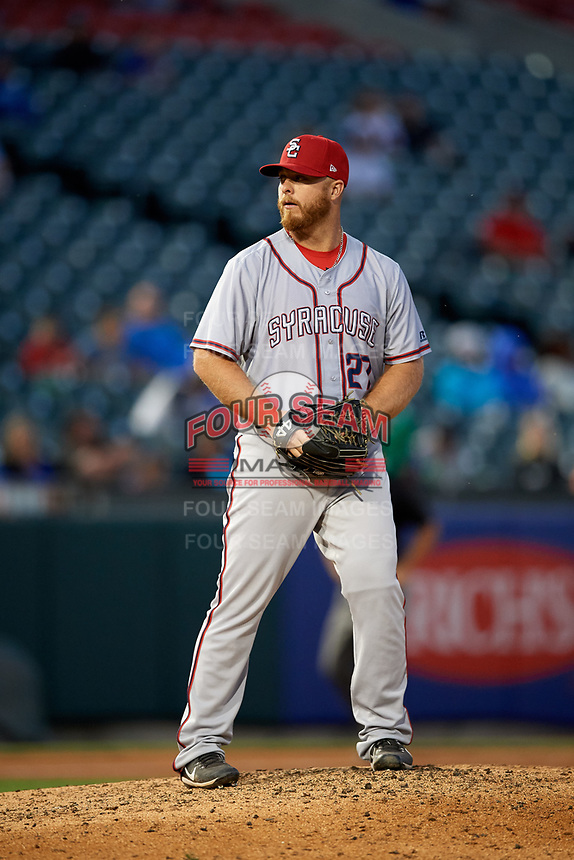 Syracuse Chiefs relief pitcher Josh Edgin (27) gets ready to deliver a pitch during a game against the Buffalo Bisons on July 6, 2018 at Coca-Cola Field in Buffalo, New York.  Buffalo defeated Syracuse 6-4.  (Mike Janes/Four Seam Images)