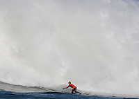 Carlos Burle in front of the wave at the 2010 Mavericks Surf Contest in Half Moon Bay, California on February 13th, 2010.