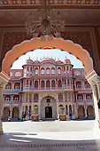 Jaipur, India; the City Palace, the Ridhi Sidhi Pol viewed through an arch.