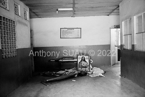 Guekedou, Guinea<br /> April 2001<br /> <br /> The entrance to the maternity ward at the hospital which was destroyed by Sierra Leone rebels in January.