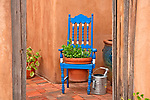 Colorful furniture and plants along Canyon Road which is lined with art galleries in Santa Fe, New Mexico