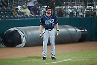 Tommy Shields (17) of the Wilmington Blue Rocks coaches third base during the game against the Greensboro Grasshoppers at First National Bank Field on May 25, 2021 in Greensboro, North Carolina. (Brian Westerholt/Four Seam Images)