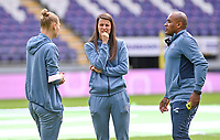 Ella Van Kerkhoven (3) of Anderlecht pictured in talks with Laura De Neve (8) of Anderlecht and assistant coach Miguel Atilio of Anderlecht ahead of a female soccer game between RSC Anderlecht Dames and Sporting Charleroi  on the second matchday of the 2021 - 2022 season of Belgian Womens Super League , saturday 28 th of August 2021  in Brussels , Belgium . PHOTO SPORTPIX   DAVID CATRY