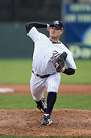 Empire State Yankees pitcher Kevin Whelan #23 delivers a pitch during a game against the Norfolk Tides at Dwyer Stadium on April 22, 2012 in Batavia, New York.  Empire State defeated Norfolk 6-5, the Yankees are playing all their games on the road this season as their stadium gets renovated.  (Mike Janes/Four Seam Images)