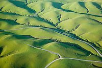 aerial photograph Sonoma mountain hills in winter, Petaluma, Sonoma county, California
