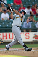 Salt Lake Bees designated hitter Robbie Widlansky (13) swings the bat during the Pacific Coast League baseball game against the Round Rock Express on August 10, 2013 at the Dell Diamond in Round Rock, Texas. Round Rock defeated Salt Lake 9-6. (Andrew Woolley/Four Seam Images)