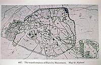 Map by Alphand. The transformation of Paris designed by Haussmann. Paris France.