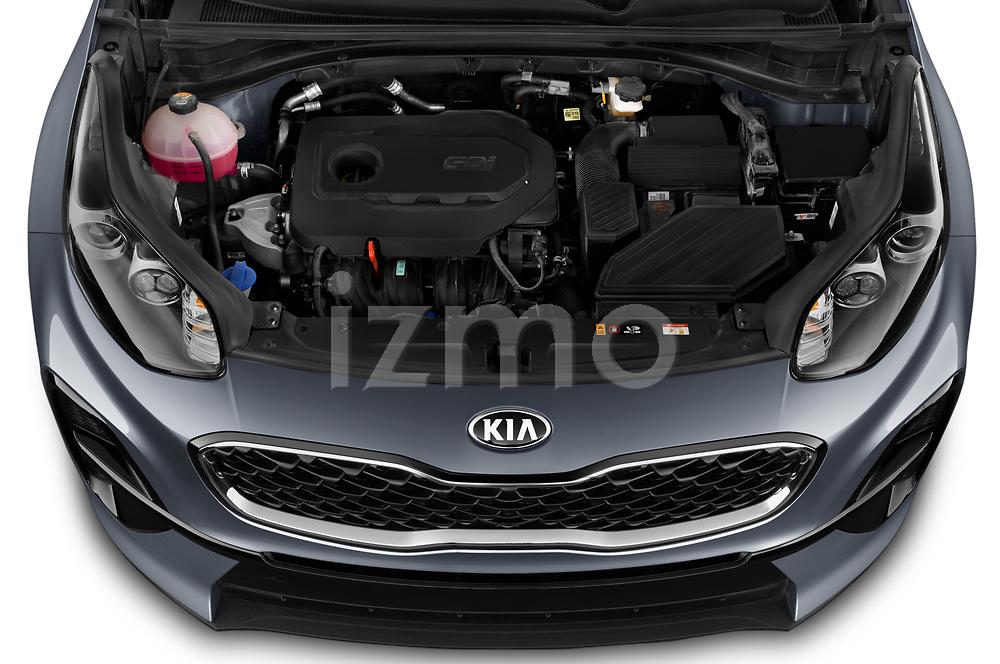 Car Stock 2021 KIA Sportage LX 5 Door SUV Engine  high angle detail view