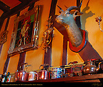 Wall Decorations and Henry VIII, Wheatsheaf at Bough Beech, 14th-15th c. Country Pub, Kent, England, UK