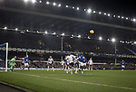 Everton 0 West Bromwich Albion 0, 19/01/2015. Goodison Park, Premier League. Home striker Romelu Lukaku (in blue) attacking a corner kick during the second-half at Goodison Park, Liverpool of the Premier League match between Everton and West Bromwich Albion. The match ended in a 0-0 draw, despite the home team missing a first-half penalty by Kevin Mirallas. The game was watched by 34,739 spectators and left both teams languishing near the relegation zone. Photo by Colin McPherson.