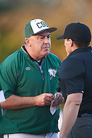 Chicago State Cougars head coach Steve Joslyn argues a call with home plate umpire Greg Roamer during a game against the Georgetown Hoyas on March 3, 2017 at North Charlotte Regional Park in Port Charlotte, Florida.  Joslyn was ejected from the game.  Georgetown defeated Chicago State 11-0.  (Mike Janes/Four Seam Images)