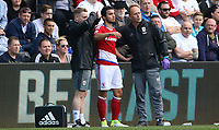 Fábio of Middlesbrough on the side lines with medical staff requests to return to play after becoming concust during the Premier League match between Swansea City and Middlesbrough at The Liberty Stadium, Swansea, Wales, UK.