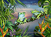 Lori, REALISTIC ANIMALS, REALISTISCHE TIERE, ANIMALES REALISTICOS, zeich, paintings+++++Two Blue Frogs,USLS326,#a#, EVERYDAY ,puzzle,puzzles