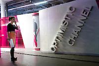 """RUSSLAND, 11.2012. Moskau.  Oppositioneller Fernsehsender Doschd (""""optimistischer Kanal""""), gegruendet von Natalja Sindejewa und Alexander Winokurow. Die Studios befinden sich in der ehemaligen Schokoladenfabrik """"Roter Oktober"""". Unter der Leitung von Sindejewa wird das Studioleben von jungen Frauen gepraegt.   Oppositional TV-station Dozhd (""""optimistic channel""""), founded by Natalya Sindeyeva and Aleksandr Vinokurov. The studios are located in the famous former chocolate factory """"Red October"""". Led by Sindeyeva young women dominate studio life. © Martin Fejer/EST&OST"""