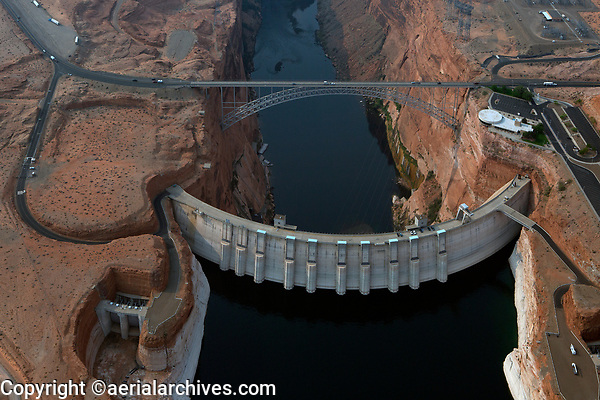 aerial photograph of Glen Canyon Dam, Lake Powell, Arizona during a severe drought